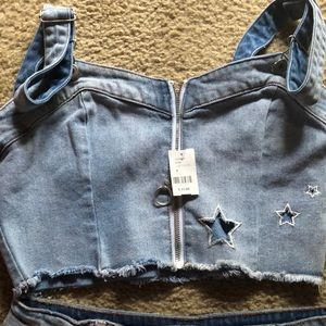 Jean tank star top and or short set